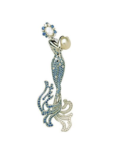 Van Cleef  Arpels - Galatée clip by Van Cleef  Arpels  brooch sapphire emerald diamond fairy pearl.  mermaid