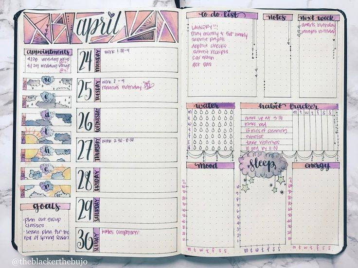 """244 mentions J'aime, 14 commentaires - erin (@theblackerthebujo) sur Instagram: """"So happy with the way this weeks spread came out. Watercolor is new to me, but I'm loving the way…"""""""