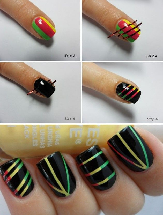 DIY Nail Art | Step-By-Step Picture Tutorial | Easy DIY Black with Multi Color Lining Design Nails