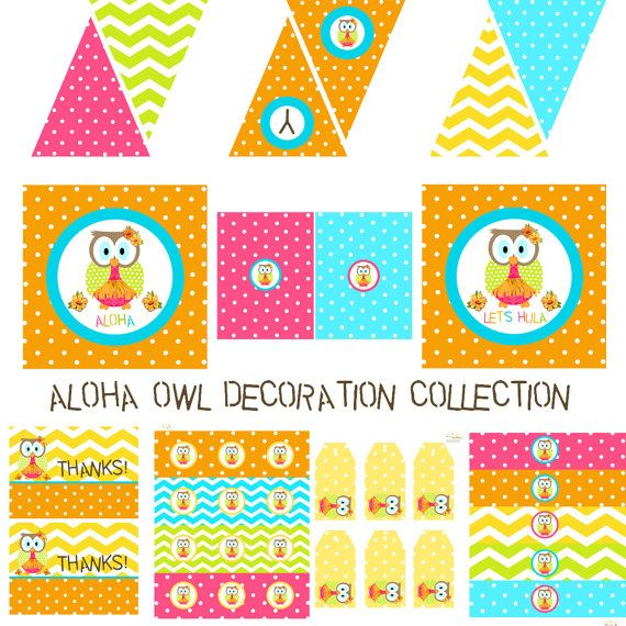 Aloha Owl Decorations for Birthday Party or Shower by BeeAndDaisy