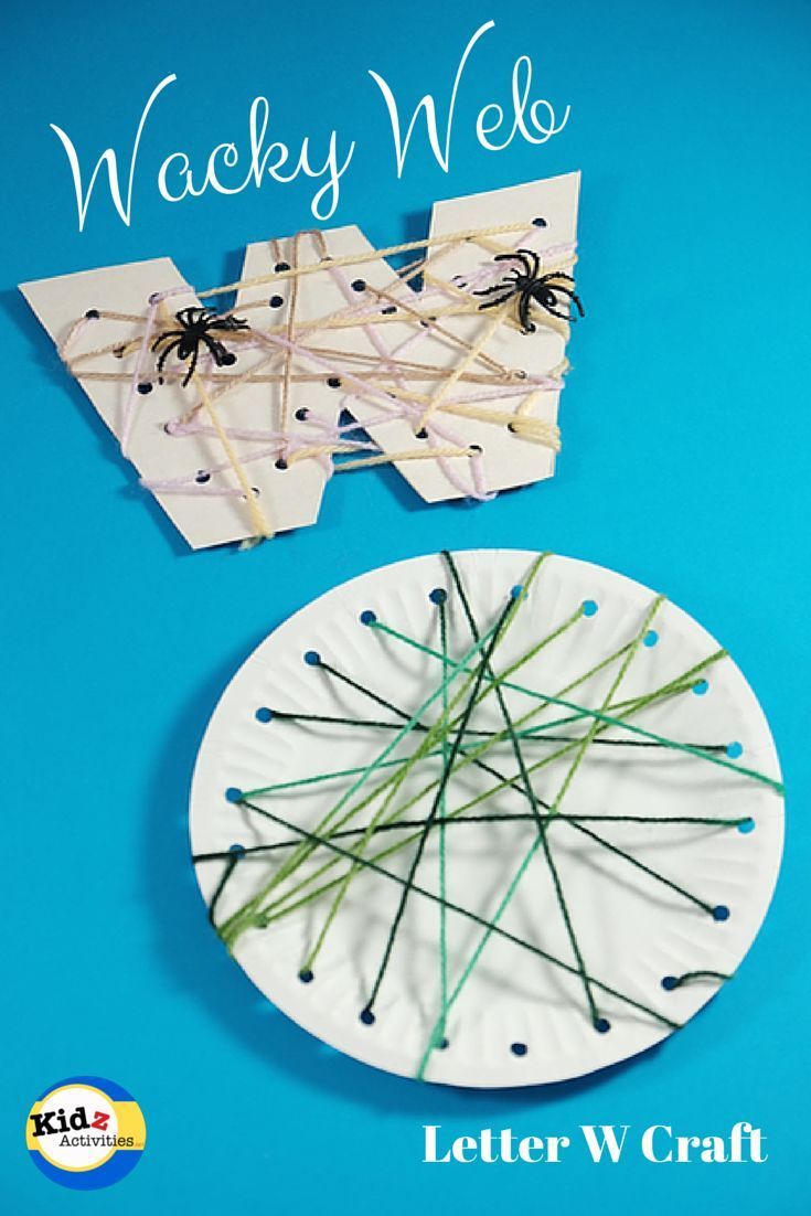 Wacky Web -- This would be a fun craft for Halloween.  I'd use black paper plates and would cut out letters so kids could do their first initial.