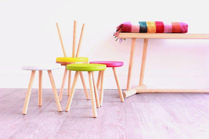 Handmade three legged stools