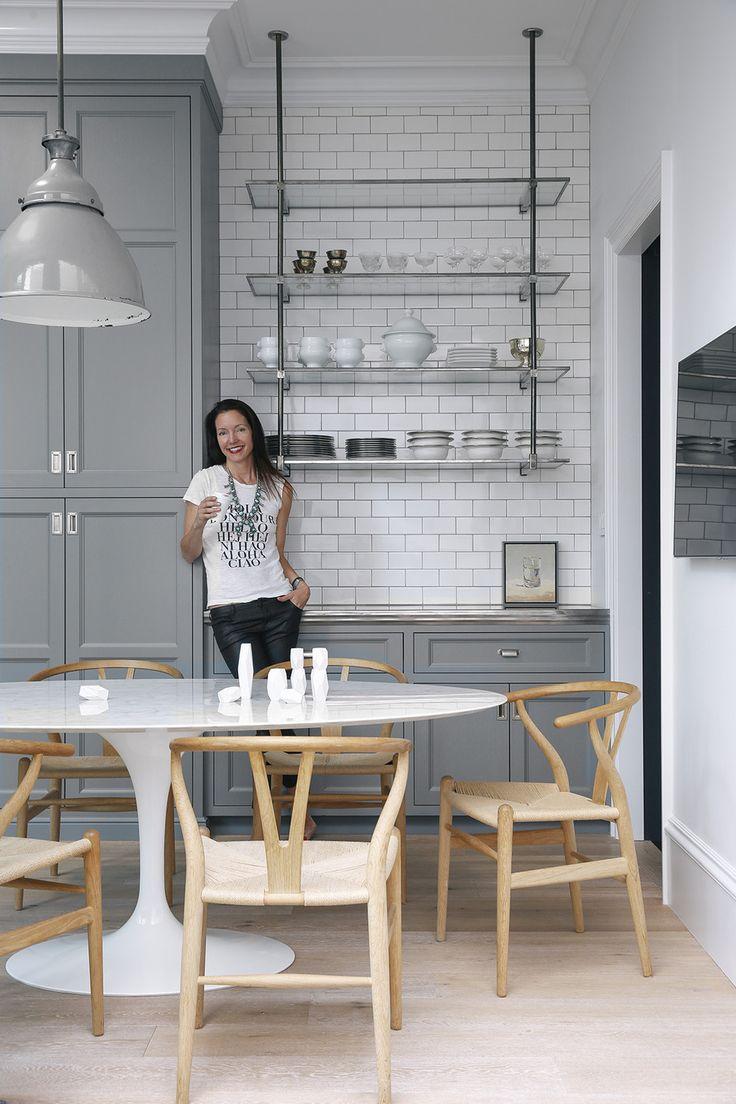 gray & white kitchen   open shelving   glass & chrome   marble   wishbone chairs