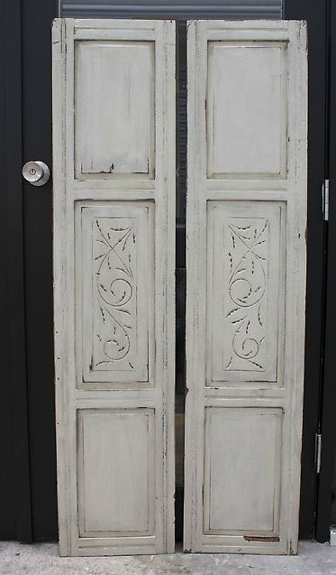 Cream Cabinet Doors with Detail in Center Panels 32cm x 143cm each to hire from The Establishment Studios