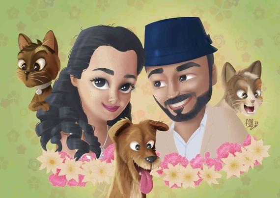 Custom Caricature Family Portrait Personalized Gift Custom Cartoon Style Custom Portrait Handmade Gifts Caricature Maker Portrait Cartoon Artist Caricature Cartoon Styles