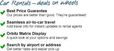 """#23) How to Get Around Town: """"Honey, we're going to need to rent a car too.  Oh look!  We can use Orbitz!""""  Orbitz lets you select which car rental agency you want to use, and it segments the different categories of cars you can rent to make it easier for you to choose.  Hmmm...it looks like if you ONLY use Orbitz to rent a car, the price is the same as using the rental car's website...let's see what happens when we bundle a hotel, a flight, and a car."""""""