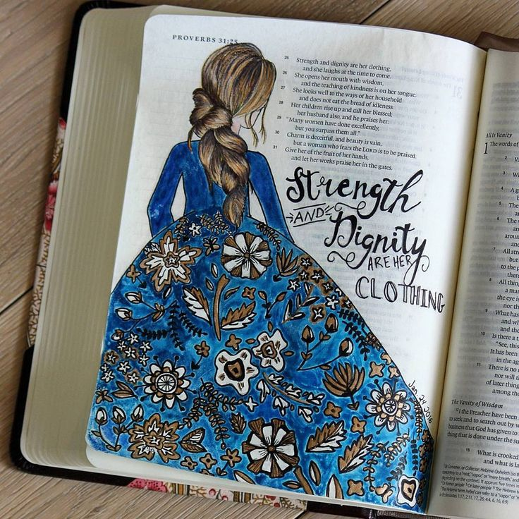 Amazing example of Bible journaling and using art to display our faith. Strength and dignity are her clothing...