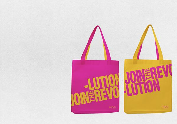 Join The Revolution - MOSI - Exhibition branding by Lua Cortes, via Behance - tote bag, tote, revolution, bold, merchandising