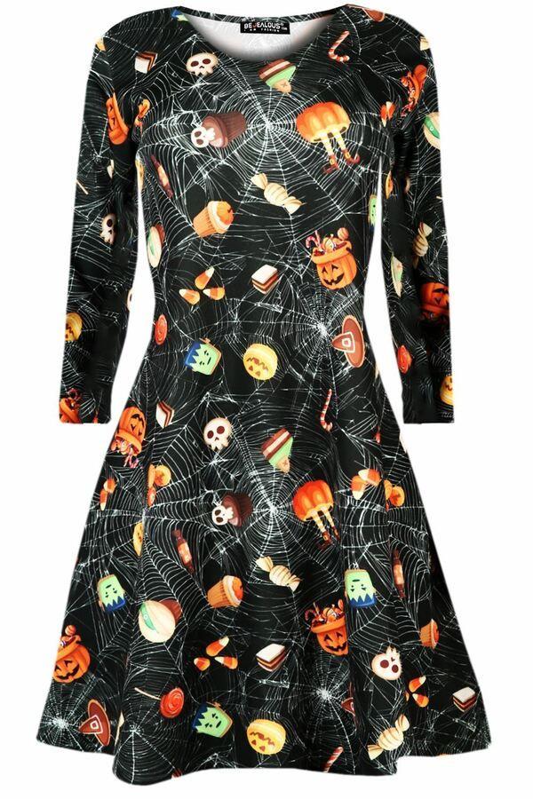 Women Ladies Skull Jewel Scary Pumpkin Halloween Fancy Costume Smock Swing Dress