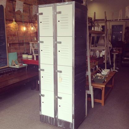 Industrial stripped metal locker unit with white doors - The General Store