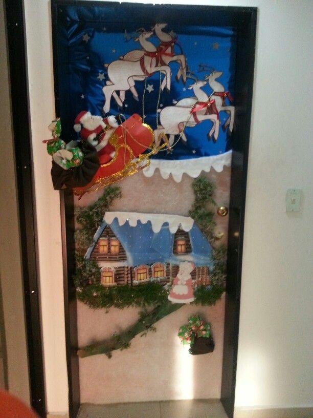 13 mejores im genes sobre navidad en pinterest salones for Puertas decoradas navidad material reciclable