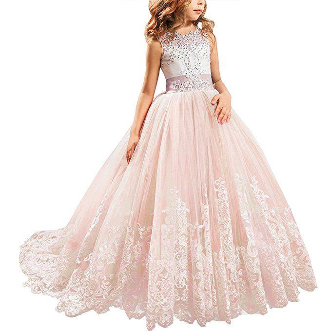 Blumenmadchen Festkleider Kleid Lang Brautjungfern Hochzeit Festlich Kleidung Festzug 1 Rosa 10 Kleider Fur Madchen Lange Kleider Lange Kleider Hochzeitsgast