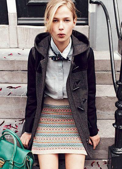 グレーのダッフルコートにはフェアアイル柄のスカートをおン☆ダッフルコートのトレンド♡人気・おすすめのレディース一覧♡