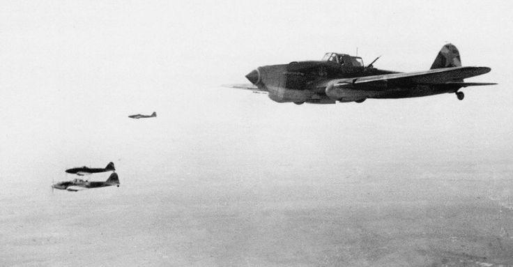 The Il-2 the 7-th Guards Attack Aviation Regiment in sortie