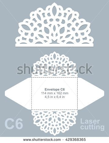 Vector die cut envelope template for laser cutting. Invitation envelope C6.