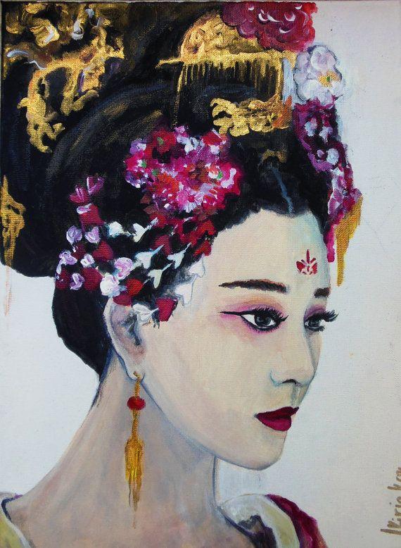 Portrait China Traditional Woman  Original Painting  Acrylic