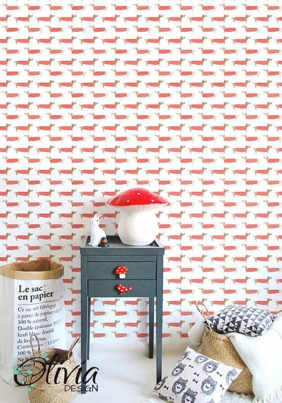 SCHÄLEN und STICK-Vinyl-Tapeten - Roter Pullover Hund Muster - OLB_003