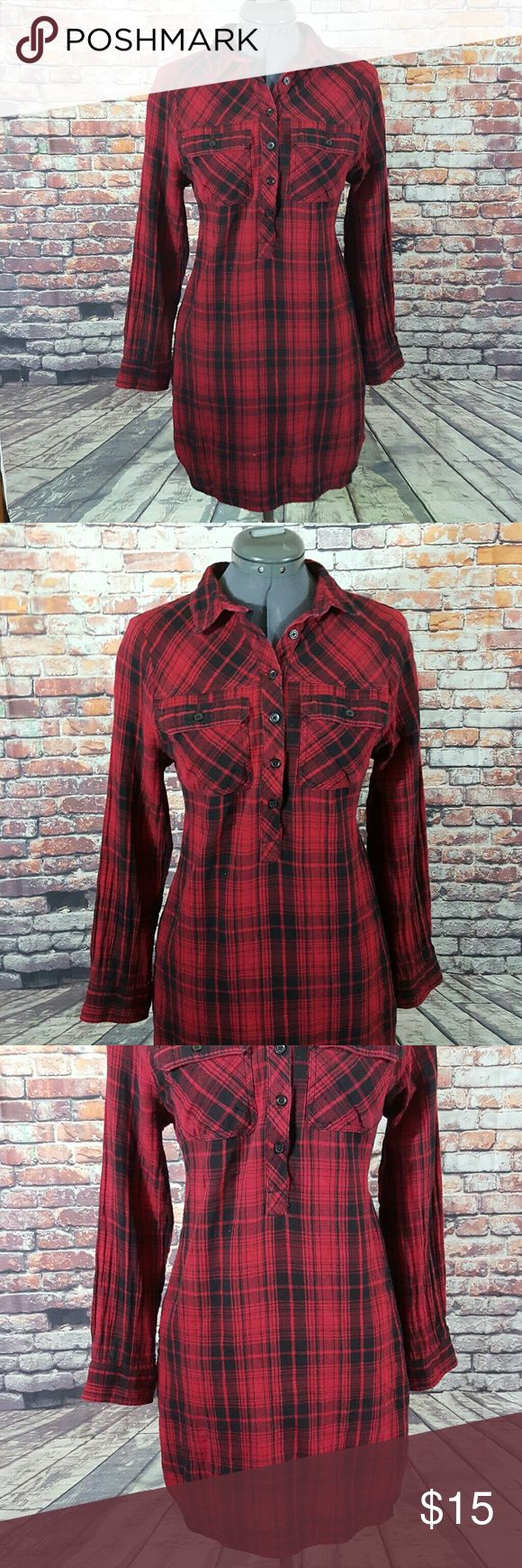 """Flannel Shirt Dress Beach Lunch Lounge Womens Beach Lunch Lounge Size Small Red/Black Flannel Long Sleeve Shirt Dress  Gently used with no flaws, see photos   Measurements: 18.5"""" armpit to armpit  34"""" in length   RT56 Beach Lunch Lounge  Dresses Midi"""