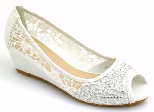 Evening sore feet relief: Womens LOW Wedge Heel CUT OUT Diamante Peep TOE Party Bridal Wedding Sandals