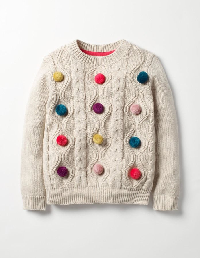 Love the pom pom detail in this kids sweater. Fun Cable Sweater. #affiliate (I will receive a small commission if you click this link)