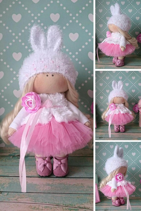 Fabric doll Cloth doll Rag doll Textile doll Baby doll Bambole di stoffa Tilda doll White doll Handmade doll Nursery doll Muñecas by Elvira __________________________________________________________________________________________   Hello, dear visitors!  This is handmade cloth doll created by Master Elvira F (Nizhnevartovsk, Russia). All dolls stated on the photo are mady by artist Elvira F. You can find them in our shop searching by artist name: https://www.etsy.com/shop/...