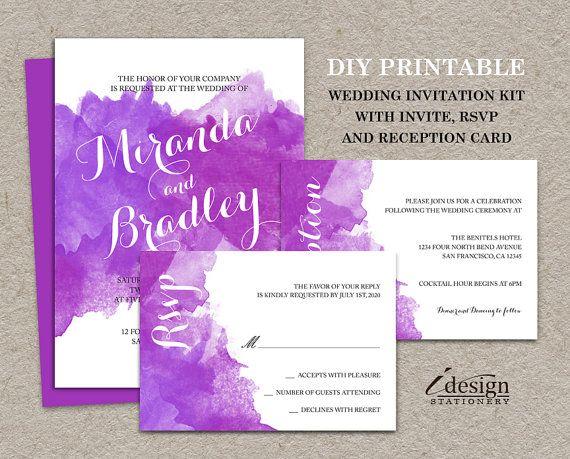 DIY Printable Purple Watercolor Wedding Invitation Kit By IDesignStationery  On Etsy   $21.95 #PurpleWedding #