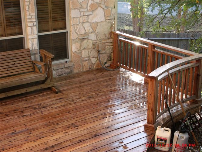 Bright Sunshine On Deck with Clove Brown Color Deck Stain, Clove Brown Curve Fence,