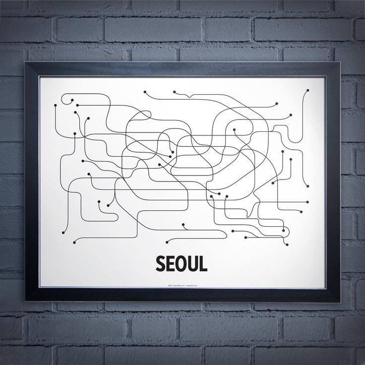 Seoul Lineposter - White/Black. $24.00, via Etsy.