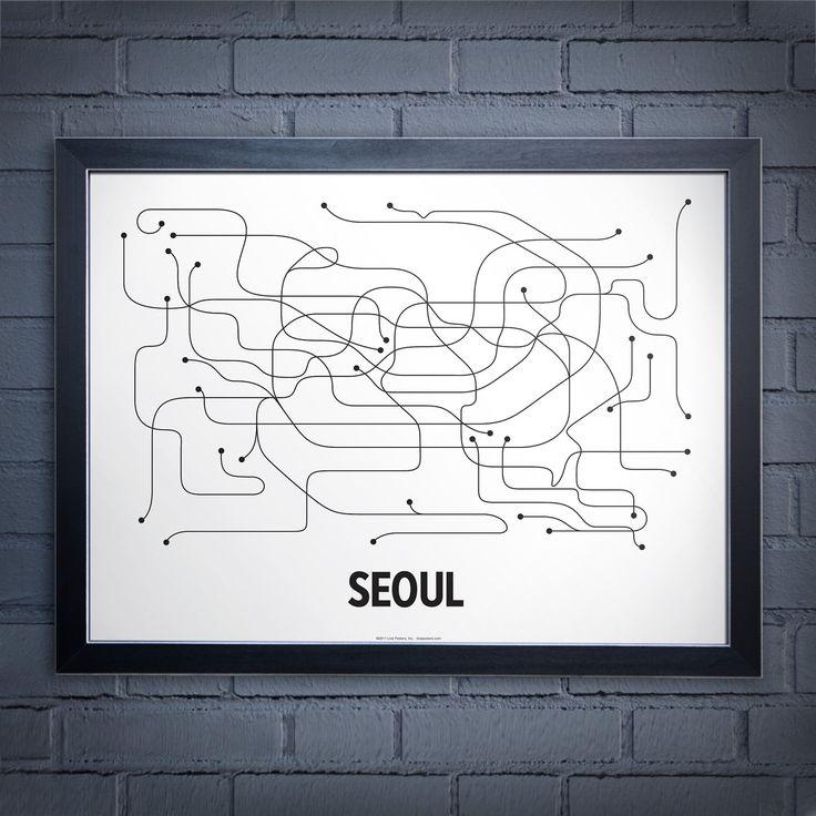 Seoul Lineposter - White/Black. $24.00, via Etsy.