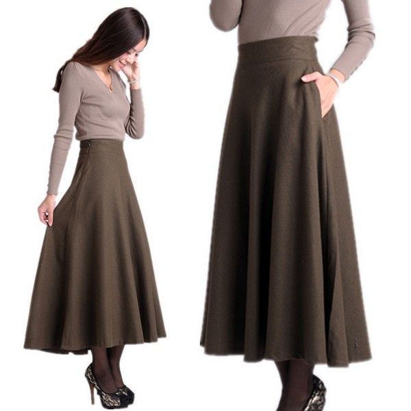 Perfect fall and winter staple.  Ankle length a-line skirt that shows off a small waist by starting above the hips. No need for pockets, that adds too much bulk to the hips.