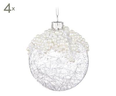Set de 4 bolas decorativas de cristal Elite - transparente