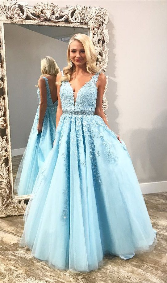 Gorgeous V Neck Blue Long Prom Dress with Lace Appliques f2dba3dc3828