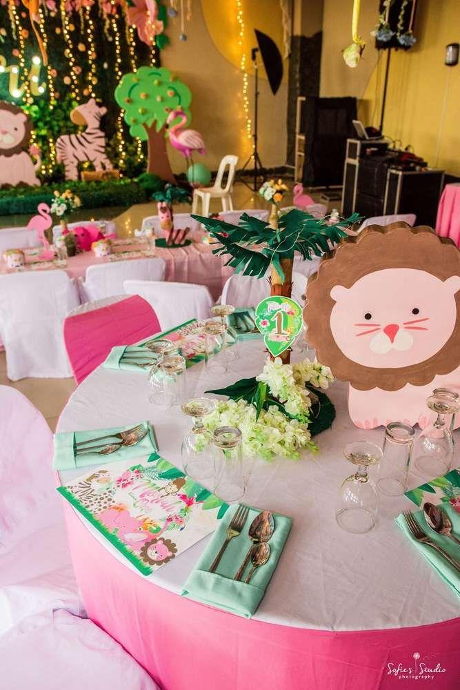 a6f75786daa8e Girly Tropical Safari Birthday Party Ideas in 2019