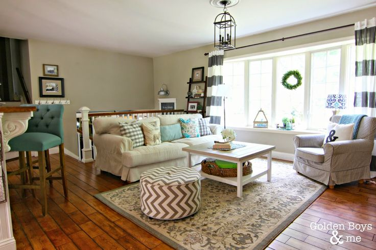 Striped Drapes from TJ Maxx, lantern light, Ikea hack coffee table in Summer Living Room-www.goldenboysandme.com