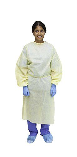 MediChoice Isolation Gowns, Full Back, Non-AAMI, Elastic Cuff, Tie Neck And Waist, Spunbond Meltblown Spunbond, Universal, Yellow (Bag of 10)  Made of fluid resistant, 3-layer yellow SMS material  Full coverage or apron style, open back design  Elastic cuffs  Sewn seams, tie waist  Not rated for AAMI fluid barrier protection