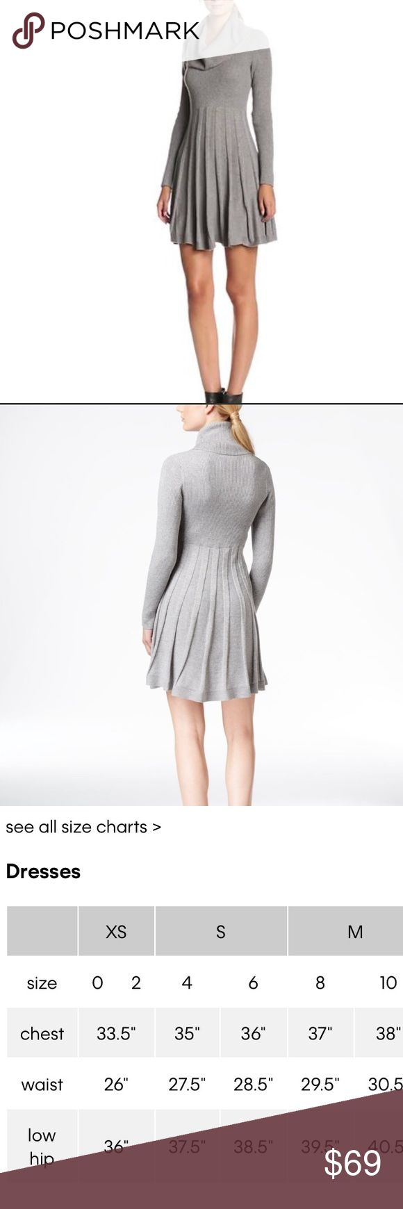 Calvin Klein Cowl-Neck sweater dress Pre-loved• excellent condition • Calvin Klein• cowl-neck• fit and flare• pleated skirt• ribbed knit long sleeves• color is dark charcoal grey ( darker than picture sample) • no stains/rips• no sign of wear• more pictures and measurements coming soon• no trades• offers & bundles welcomed Calvin Klein Dresses Mini
