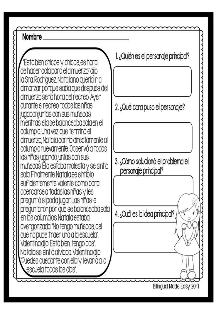 Bilingual Main Idea Unit In English Spanish Dual Language Classroom English As A Second Language Reading Comprehension Skills [ 1104 x 736 Pixel ]