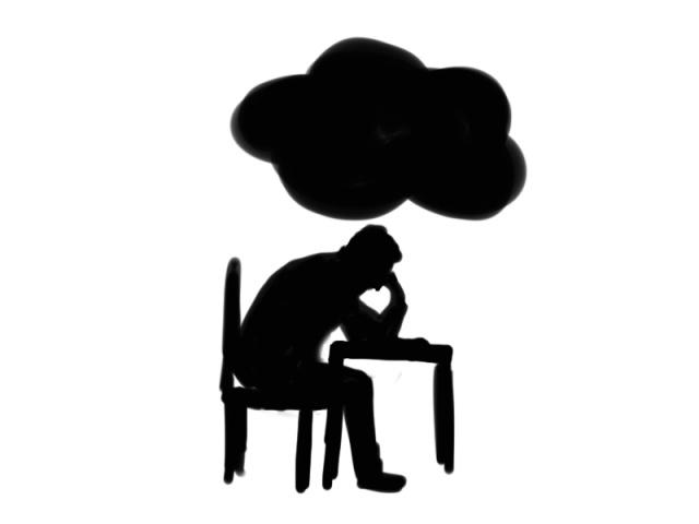 Donkere wolk huiswerk. Illustratie Tine de Jong-Veenstra.