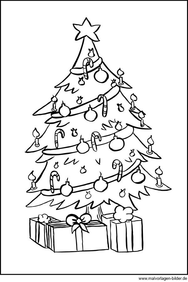 Ausmalbild Weihnachtsbaum Und Geschenke Zum Ausdrucken