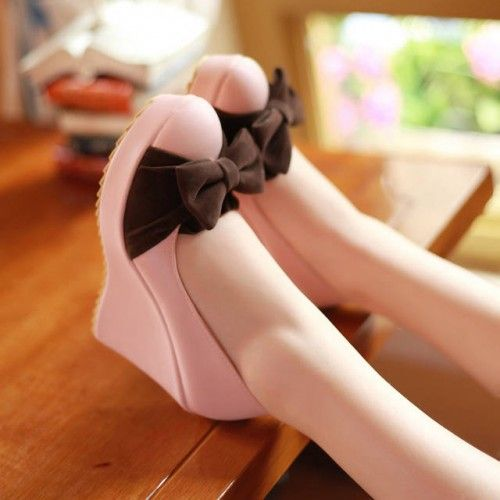 Kode : AWF-373, Nama : Cutie Bow Pink & Dark Choco Wedges, Price : IDR 175