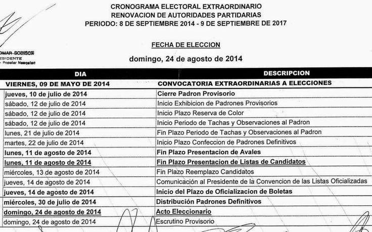 Piedra del Aguila.-: Cronograma electoral para la renovación de autorid...