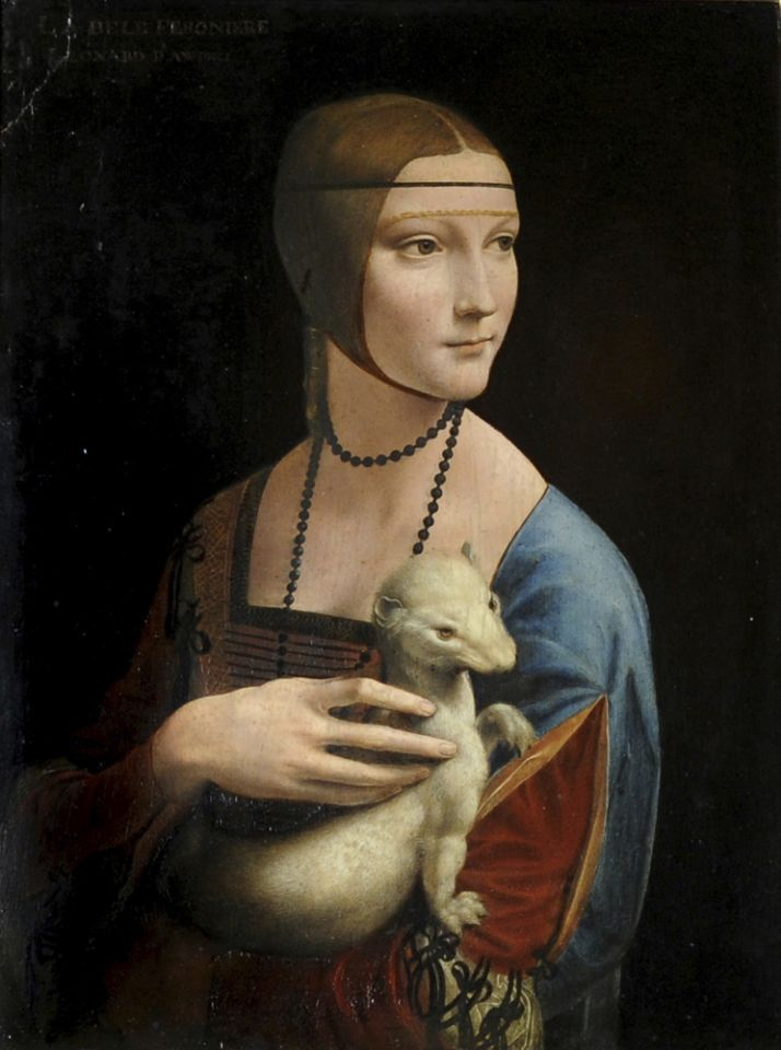 Leonardo da Vince (1452-1519), 'The Lady with an Ermine (Portrait of Cecilia Gallerani),' circa 1490), oil and tempera on wood panel. Image courtesy of Wikimedia Commons