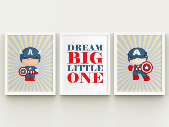 Superhero Captain America boy room by HappyPrintCreations on Etsy