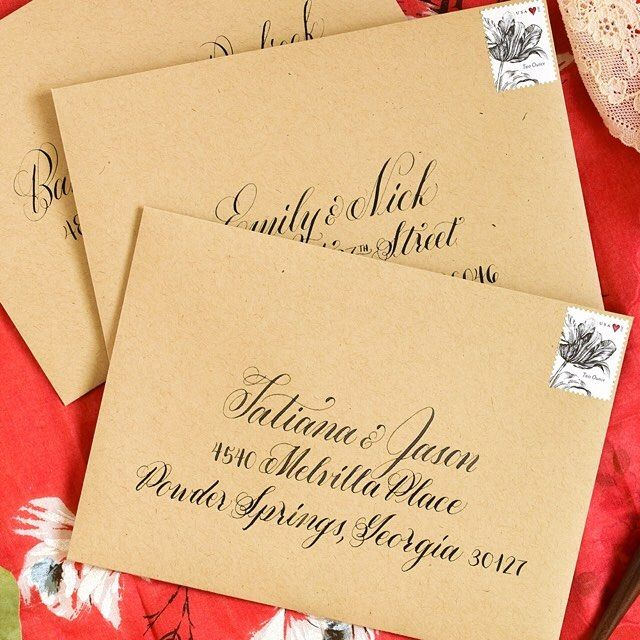 """Sending out the last of these Janet Style calligraphed envelopes for a friend's wedding! Iron gall ink is such a pleasure to work with; it facilitates awesome hairlines. :) The envelopes are """"Paper Bag"""" from Paper Source's PS Collection and the stamps are from USPS.com. #backtobasics #calligraphy #moderncalligraphy #modernscript #script #wedding #envelope #envelopecalligraphy #mail #snailmail #usps #janetstyle #brauseef66 #dippen #pointedpen #calligrapher #penmanship #elegance #creativity…"""