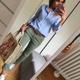 """""""Girlfriend Twill Stripe Chinos"""" at GAP. Classy! Button down, olive pants, sneakers"""