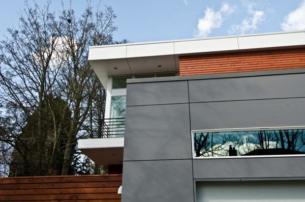 Architectural, The Exterior Of Modern House With Wall Taper Angle View: Charming Massive Two-Level Family Residence in Seattle by Pb Element...