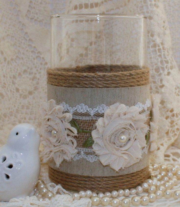 Budget Friendly Centerpieces - Burlap Candle Holders - May Arts Wholesale Ribbon Company