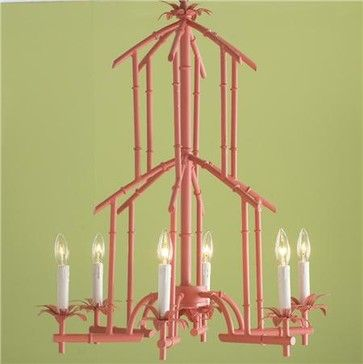 (Bamboo + Baby Pink) Bamboo Tower Chandelier - asian - chandeliers - Shades of Light- love this is another color maybe
