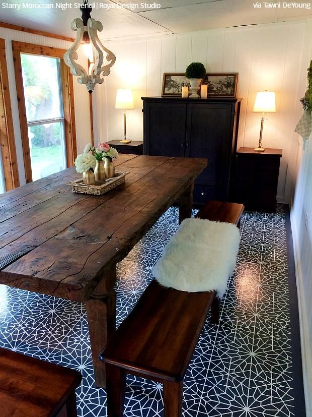 16 DIY Ideas - Dare to Be Different with Dining Room Stencils - Decorating and Painting with Wall Stencils or Floor Stencils from Royal Design Studio