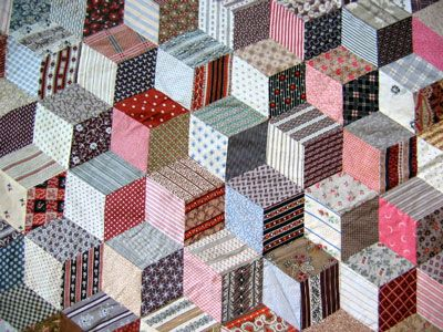 Vintage Tumbling Blocks Quilt Top